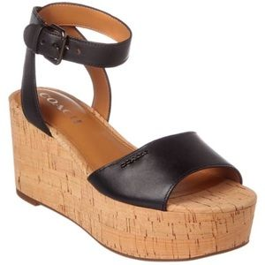 COACH Becka Leather Wedge Sandal in Black NWOB 6.5